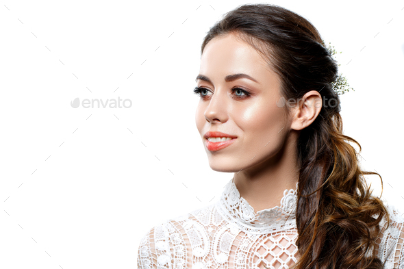 beautiful brunette girl with natural makeup isolated on white - Stock Photo - Images
