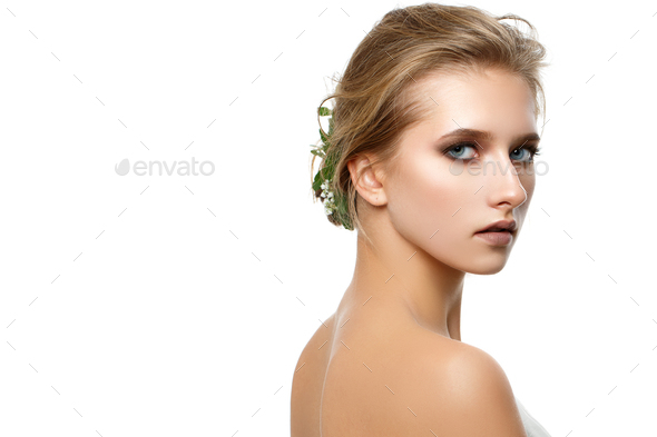 beautiful dark blonde girl with natural makeup isolated on white - Stock Photo - Images