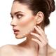 girl applying foundation on face isolated on white - PhotoDune Item for Sale