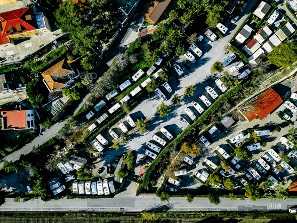 Aerial view of Campsite with caravans on holiday or vacation in Italy - Stock Photo - Images