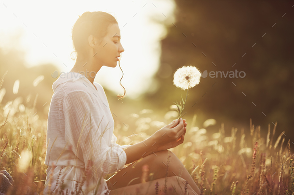 Beautiful Carefree Woman In Fields Being Happy Outdoors Stock Photo By Artfotodima