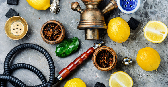 Hookah with lemon - Stock Photo - Images