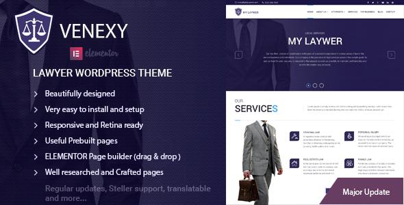 Lawyer Elementor WordPress Theme - Venexy