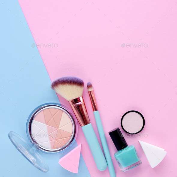 Makeup brush and decorative cosmetics on color background, with - Stock Photo - Images