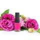 Pink nail polish with flowers eustoma on white background - PhotoDune Item for Sale
