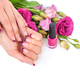 Hands of a woman with pink french manicure and flowers eustoma o - PhotoDune Item for Sale