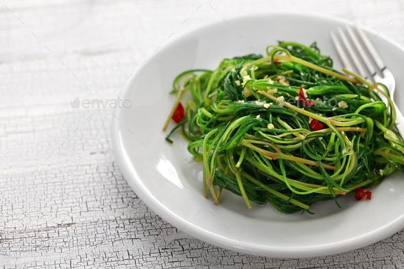 sauteed agretti, italian food - Stock Photo - Images