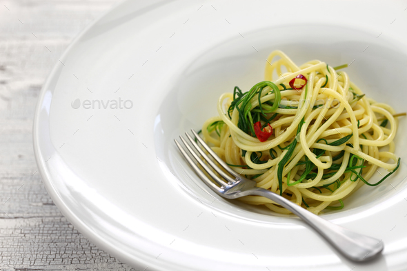 spagetti with agretti, italian food - Stock Photo - Images