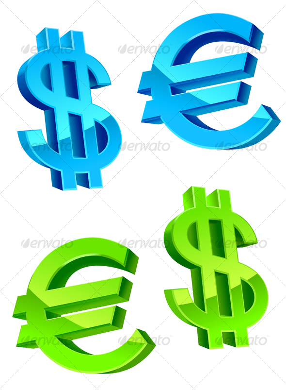 Glossy currency symbols - Decorative Symbols Decorative