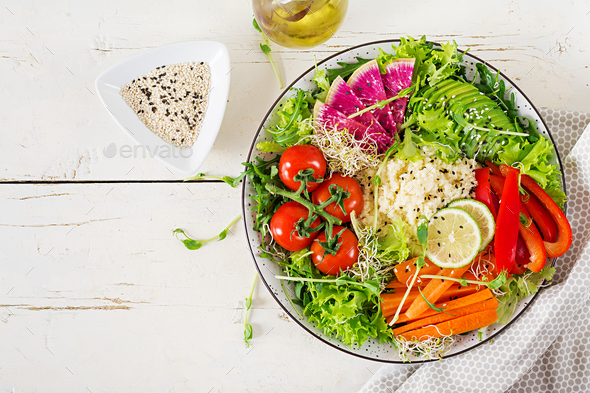 Couscous and vegetables bowl.  Trend food.  - Stock Photo - Images
