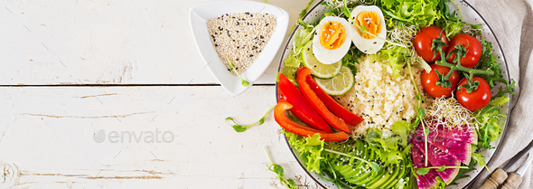 Couscous, egg and vegetables bowl. Healthy, diet, vegetarian food concept. - Stock Photo - Images