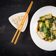 Bok choy vegetables stir fry with soy sauce and sesame seeds. Chinese cuisine. Top view - PhotoDune Item for Sale