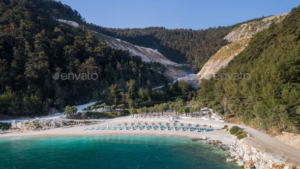 Porto Vathy beach, Thassos island, Greece - Stock Photo - Images