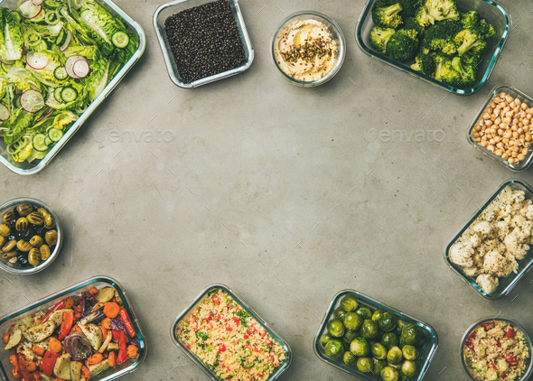 Various healthy vegan or vegetarian dishes and ingredients, copy space - Stock Photo - Images
