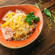 Pasta and meat in a bowl on wooden table, nobody - PhotoDune Item for Sale