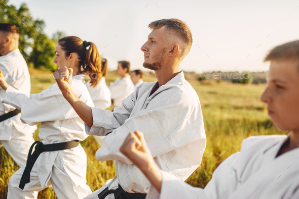 Karate group on training in summer field - Stock Photo - Images