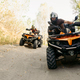Two quad bike riders travels in forest, front view - PhotoDune Item for Sale
