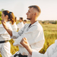 Karate group on training in summer field - PhotoDune Item for Sale