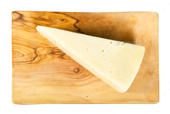 view of Pecorino Romano cheese on board isolated - Stock Photo - Images
