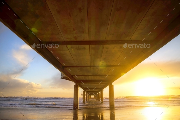 View from under the pier - Stock Photo - Images
