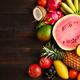 Exotic fruit on a wooden background with copy space - PhotoDune Item for Sale