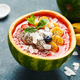 Healthy smoothie served in in a watermelon bowl and decorated with fruit and Chia seeds - PhotoDune Item for Sale