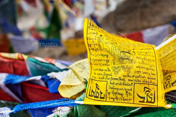 Tibetan Buddhism prayer flags lungta - Stock Photo - Images