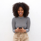 Laughing african american woman holding smart phone - PhotoDune Item for Sale