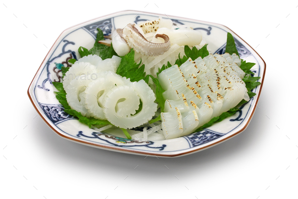 cuttlefish sashimi, japanese cuisine - Stock Photo - Images