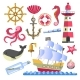 Marine Symbols Underwater Animals and Ship with - GraphicRiver Item for Sale
