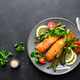 Grilled salmon fish steak, asparagus, tomato and corn salad - PhotoDune Item for Sale