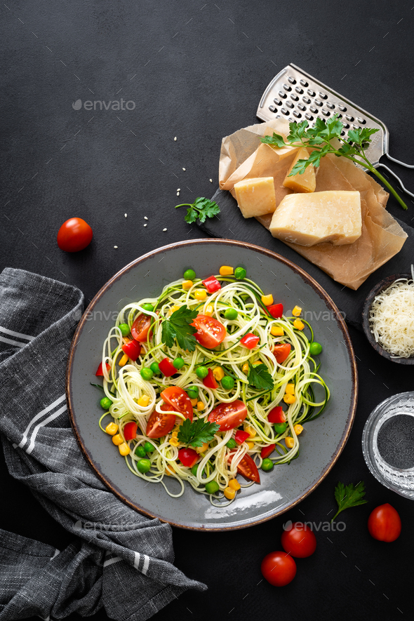 Zoodlie, healthy vegan food - zucchini noodlie - Stock Photo - Images