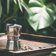 Coffee and tropical leaves background, close up - PhotoDune Item for Sale