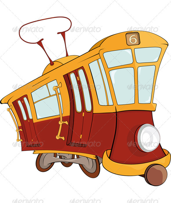 Fantastic Tram Cartoon - Objects Vectors