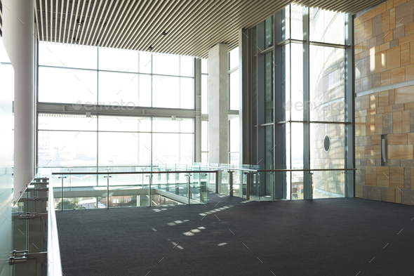 Empty commercial modern business office balcony with high ceiling - Stock Photo - Images