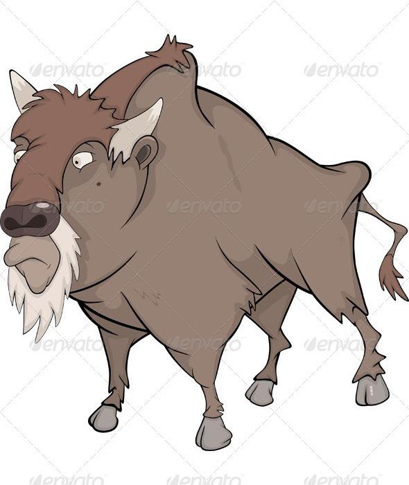 Bison Buffalo Cartoon  - Animals Characters