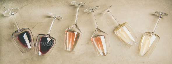 Different wines in glasses and corkscrews, top view - Stock Photo - Images