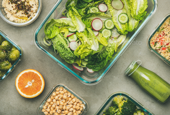 Healthy vegan dishes and juice in bottle, top view - Stock Photo - Images