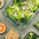 Healthy vegan dishes and juice in bottle, top view - PhotoDune Item for Sale