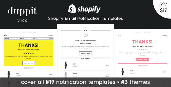 Updated] duppit - Notification Email Templates for Shopify Themes