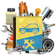 Vector Old Car Repair Book with Car Parts - GraphicRiver Item for Sale