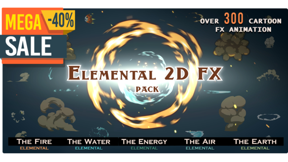 Elemental 2D FX pack [300 elements]