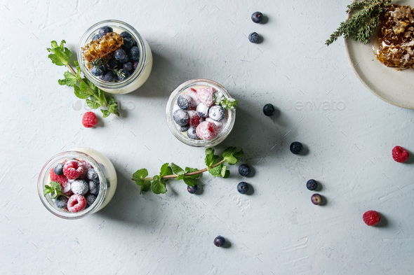 Panna cotta with berries - Stock Photo - Images