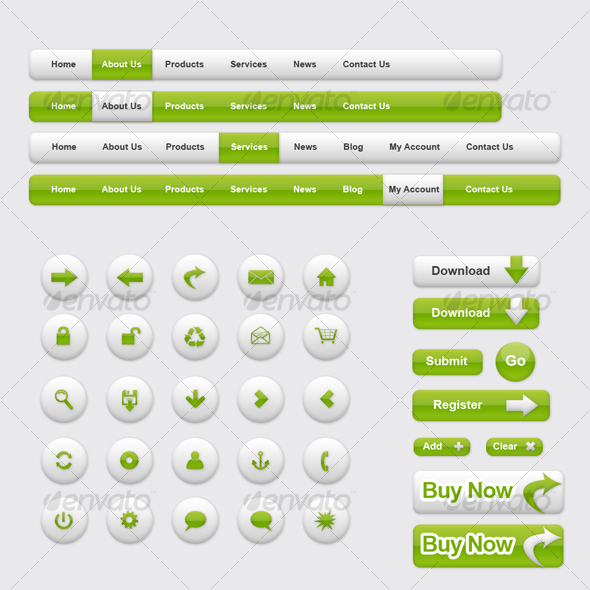 Green Color Theme - Clean - Web Elements