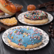 colorful glazed donuts on black wooden table - PhotoDune Item for Sale