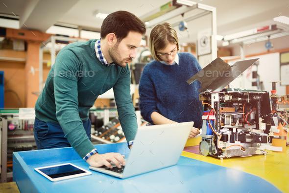 Robotics engineer students teamwork - Stock Photo - Images