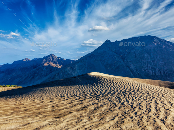 Sand dunes in mountains - Stock Photo - Images