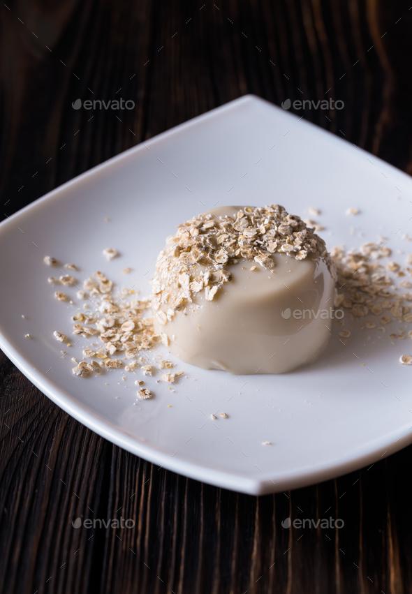 Organic oat dessert with vanilla - Stock Photo - Images