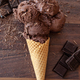 Waffle cone with dark chocolate ice cream - PhotoDune Item for Sale