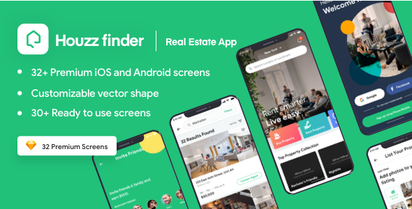 Houzz Finder - A Real Estate iOS Mobile App UI Kit